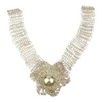 Unusual 950 Sterling Silver Woven Lacy Necklace