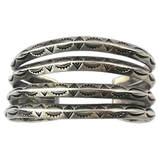 Navajo Cuff Bracelet Quad of Etched Sterling Silver Bars