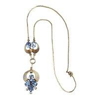Art Deco Era VAN DELL Gold-Filled Rhinestone Drop Necklace