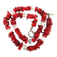Chunky Red Coral Bead Necklace w/ AB Crystals