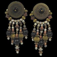 Earthy Bohemian Raw Brass Black Onyx Earrings Clip Dangles