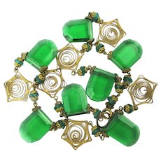 Art Deco 1930s Czech Glass - Filigree Necklace - One of the Prettiest Ever