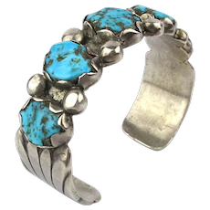 Navajo Sterling Silver Cuff Bracelet Crimped Natural Turquoise