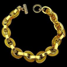 Vintage Henri Bendel Faux Gold Lucite Link Chain Necklace