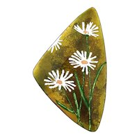 Mid Century Enamel on Copper Abstract Dish w/ Daisies