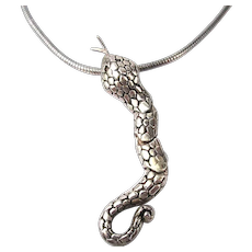 Sterling Silver Necklace Articulated Snake on Snake Chain Flexible Gymnast