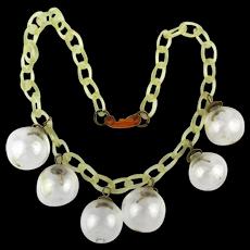 1930s Glass Bubble Celluloid Necklace Art Deco Era