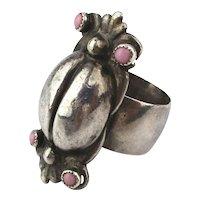 Modernist Stylized Sterling Silver BUG Ring Studio Piece