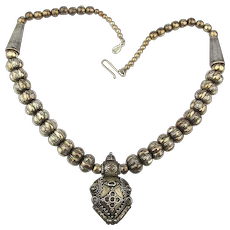 Exotic Solid Sterling Silver Indian Bead Necklace