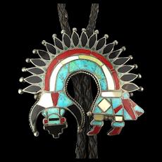 Zuni Multi-Stone Inlay Sterling Silver Rainbow Man Bolo Tie