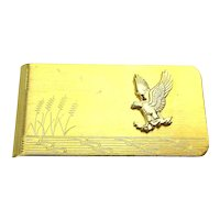 Vintage Goldtone Money Clip Etched Eagle