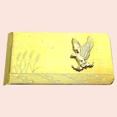 Vintage Goldtone Money Clip Etched Eagle