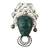 Mexican Sterling Silver Green Onyx Mask Face Pin