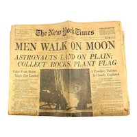 New York Times July 21, 1969 Men Walk on Moon Apollo 11 Newspaper + Supplement