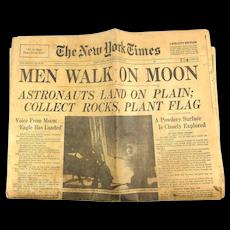 New York Times July 21, 1969 Men Walk on Moon Apollo 11 Newspaper + Supplement
