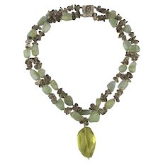 CINER Natural Stone Beads 2 Strand Necklace w/ Big Rock Drop