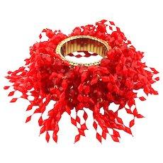 Red Firecracker Shaggy Plastic Expansion Bracelet 1960s Book Piece