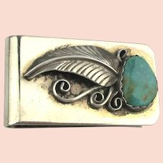 Navajo Sterling Silver on Steel Turquoise Money Clip Signed