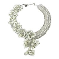 Incredible 1980s Glass Crystal Necklace - Rows n Ruffles of Clear n White