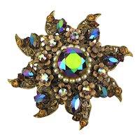 Old Austrian Crystal Filigree Rhinestone Pin w/ Rare Sighting