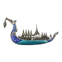 Sterling Silver Enamel SIAM Royal Dragon Ship Pin Brooch