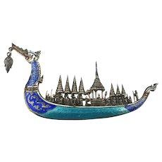 Sterling Silver Enamel SIAM Royal Dragon Ship Pin Brooch
