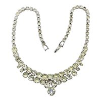Signed WEISS Clear Crystal Rhinestone Necklace