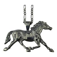 Sterling Silver Figural Race Horse Pendant Necklace