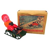 O.J. 1940s Tin - Celluloid Windup Toy in Orig. Box ~ Lucky Sledge ~ Sled Boy