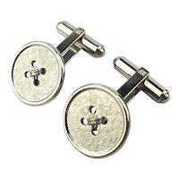Vintage WEH Sterling Silver Button Cufflinks Walter E. Hayward