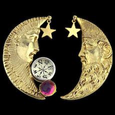 Vintage Kirks Folly Moon Face Stars Clip Earrings