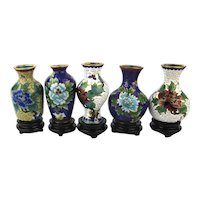 Set of Vintage Cloisonne Enamel Miniature Vases Unused in Box