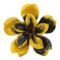 Big Cheery Enamel Flower Pin w/ Rhinestones