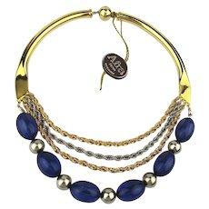 Vintage Afra Bijoux Italian Necklace Lucite Gold / Silver Tone Unique