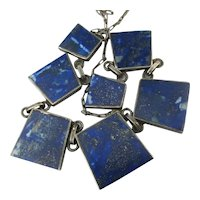 Sterling Silver Lapis Almost Square Dangles Necklace