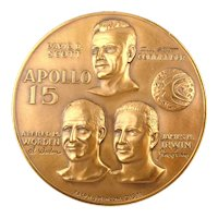 Apollo 15 Bronze Medal Scott Worden Irwin High Relief Space Medallion