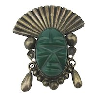 Old Taxco Sterling Silver Green Onyx Mask Face Pin