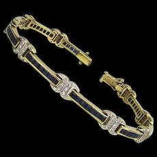 Estate 18K Gold Diamond Sapphire Bracelet 19.3 Grams