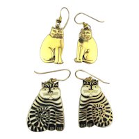 Vintage Laurel Burch Shambala Cat and Buddy Earrings