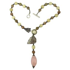 David Navarro Jade Sterling Silver Bead Necklace 1970s Art Jewelry
