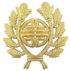 Givenchy Paris - New York Gilt Crest Emblem Pin Brooch