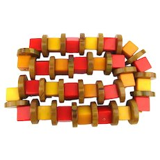 Awesome Bakelite Cubes n Circles Necklace - Multi Color Parts