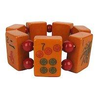 Vintage Bakelite Mah Jong Tile Stretch Bracelet