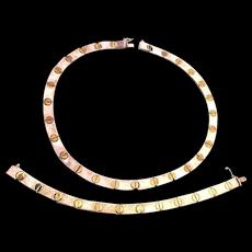 Italian Necklace Bracelet Set - Sterling Silver w/ Iconic Screw Design