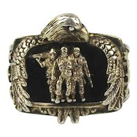 Vintage Sterling Silver Pride and Brotherhood Veterans Ring