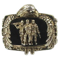 Vintage Sterling Silver Pride and Brotherhood Veterans Ring