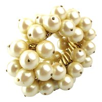 Mega Cluster of Faux Pearls Expansion Bracelet 1950s Cha-Cha