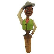 Anri Hand Carved Wood Mechanical Cork Bottle Stopper