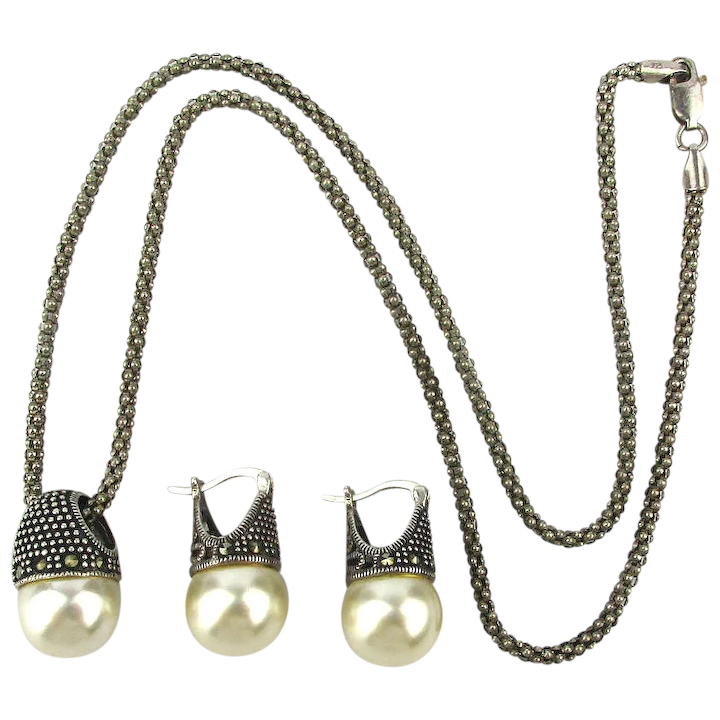 00f5e3bfce848 Sterling Silver Pearl Marcasite Necklace Earrings Set