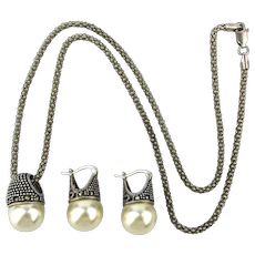 Sterling Silver Pearl Marcasite Necklace Earrings Set